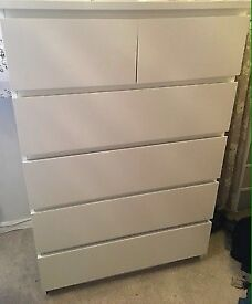 IKEA malm 6 drawer white chest