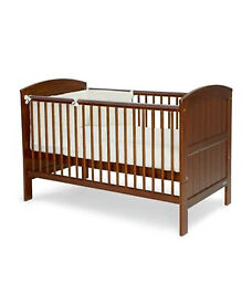 Mama's and Papas Hayworth Walnut Cot bed with Mattress