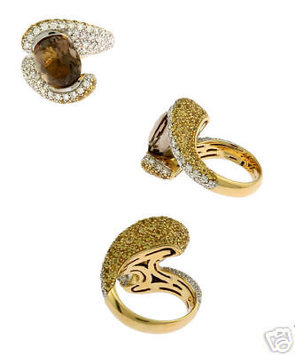 18k Yg Tourmaline Diamond Sapphire Fashion Ring