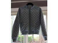 Vintage 1980's Ladies Silver Metalic Bomber Jacket