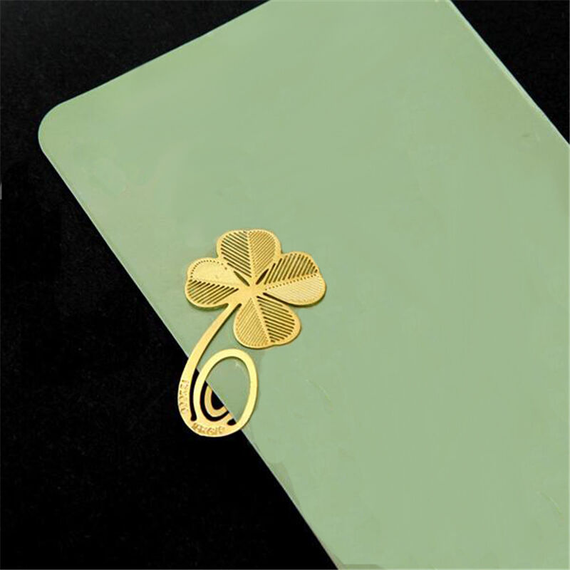 Buy online 1 pc four leaf clover metal bookmark clip practical reading accessories for kids