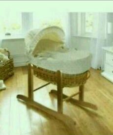 Kinder valley Cream Dimple with natural Wicker moses basket. Brand new 2 left only.