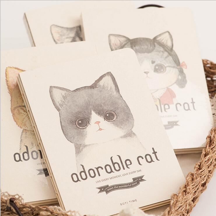 adorable cat 1pc cute blank paper notebook sketchbook diary journal notepad