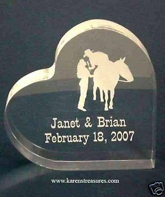 Personalized Western Heart Wedding Cake Topper Horse