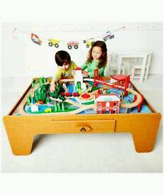 Early Learning Centre wooden train table in excellent condition