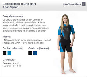 Wetsuit court 2 mm Atlan homme ou femme, (neuf)