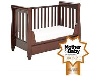 BRAND NEW, Babymore Stella Sleigh Dropside Cot Bed with Drawer (Brown)