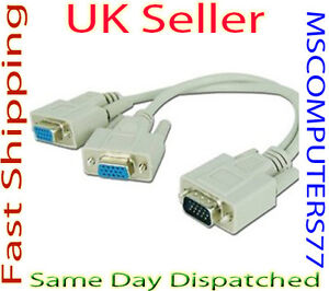 1 PC to 2 Way VGA SVGA Monitor LCD TFT Y Splitter Cable