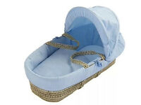 Kinder Valley Waffle Palm Moses Basket (Blue)... Brand new