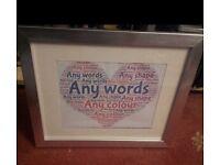 Personalised word frames