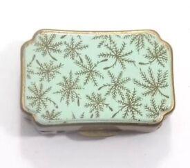 Vintage Stratton Enamel Topped Metal Pill Box