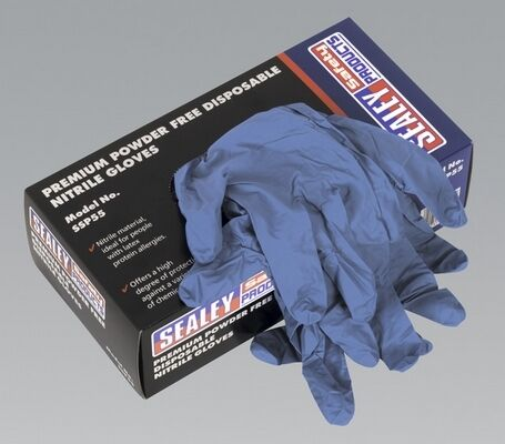 Sealey SSP55S Premium Powder Free Disposable Nitrile Gloves Protect Hand Tool