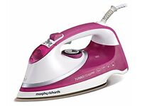 Morphy Richards 303123 Turbosteam Pro Pearl Ceramic Steam Iron, 0.4 Litre, 2800 W, White/Pink