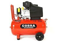 Cobra 50l air compressor. (Unboxed but never used) plus clarke 5 piece air tools. Unused.