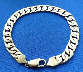 9ct SOLID GOLD LADIES or GENTS CURB CHAIN BRACELET