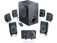 Used T7900 creative 7.1 speakers with sub and audibly 2zs card
