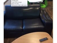 2 x 2 seater sofa black (1 has a slight fault in the arm)