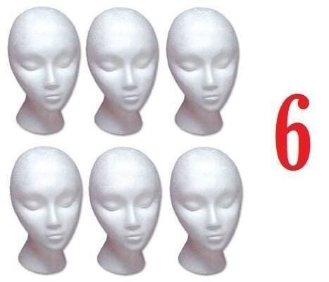 6 PACK HAIRESS STYROFOAM FOAM MANNEQUIN WIG HEAD DISPLAY  MANNEQUIN DISPLAY