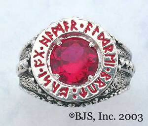 BADALI-Hobbit-Dwarven-Ring-Of-Power-Silver-Faux-Ruby-LOTR-Tolkien-IN-STOCK