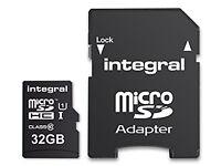 Integral 32GB microSDHC Memory Card. (Class10, U1, 90MB/s)