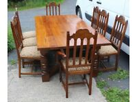 Large Oak Dining Table And Chairs Set, 1960's
