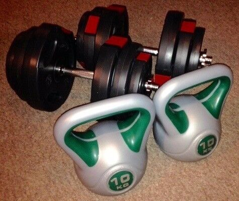 40kg Dumbell Set and 2x 10kg Kettlebell Gym Equipment Weights