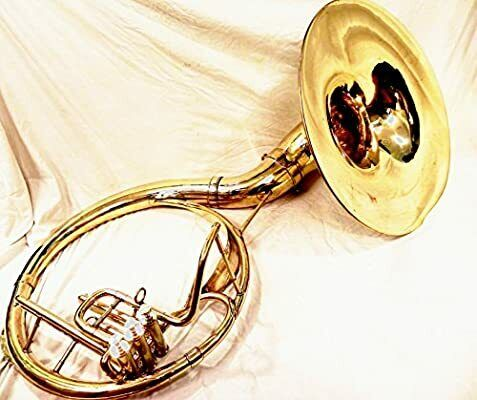"INDIAN HANDMADE BRASS FINISH 22""SOUSAPHONE BRASS MADE TUBA MOUTH PIECE WITH BAG"