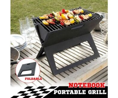 Portable Notebook Grill BBQ Foldable Folding Charcoal Camping Bar