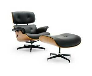 Lounge Chair & Ottoman  Genuine Leather/Walnut Wood Stylish Decor Kings Beach Caloundra Area Preview