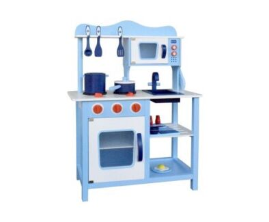 Wooden Children Play Set - blue kitchen