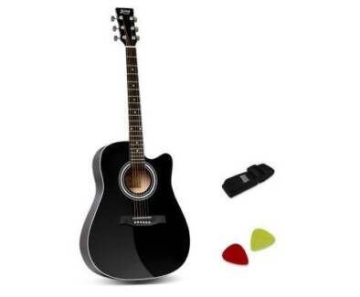 "AUS FREE DEL-41"" Steel-Stringed Cutaway Acoustic Guitar - Black"