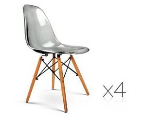 AUS FREE DEL-4x Replica Eames Dining Chairs - Transparent Grey Sydney City Inner Sydney Preview
