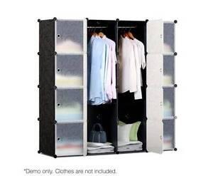 AUS FREE DEL-16 Cubes DIY Storage Cabinet w/ Hanging Bars - Black Sydney City Inner Sydney Preview