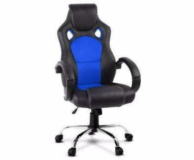 Brand New PU Leather Racing Office Chair with Blue Mesh