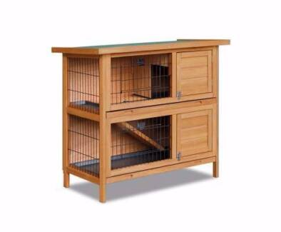 New Double Storey Rabbit Guinea Pig Hutch Cage House W Tray