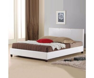 Gorgeous White Leather Bed Frame - Free Shipping