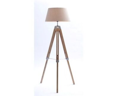 Natural large tripod floor lamp with beige linen shade
