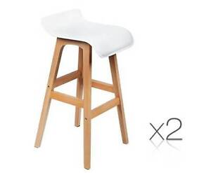 AUS FREE DEL-2 x Sturdy Beech Wood PVC Leather Bar Stools - White Sydney City Inner Sydney Preview