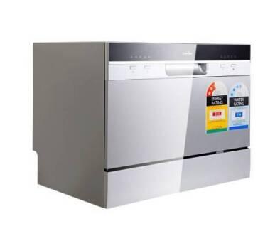 AUS FREE DEL-1380W 5 Programs Electric Benchtop Dishwasher Silver