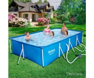 Brand New! Bestway Steel Frame Above Ground Swimming Pool Blue