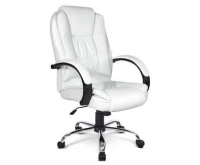 AUS FREE DEL-Executive PU Leather Office Computer Chair - White