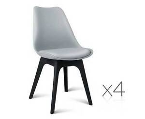 AUS FREE DEL-4x Replica Eames DSW PU Leather Dining Chair Grey Sydney City Inner Sydney Preview