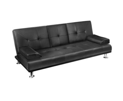 Modern Pu Leather 3 Seater Sofa Bed W Cup Holders Delivered