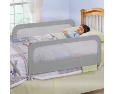 Keep your babies and toddlers safe - Double Safety Bedrail Grey