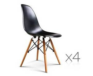 AUS FREE DEL-4x Replica Eames ABS Plastic Seat Dining Chair Black Sydney City Inner Sydney Preview
