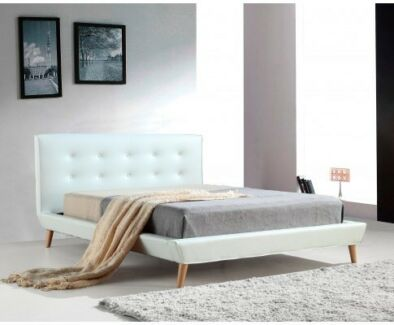 Exquisite Queen PU Leather Deluxe Bed Frame White