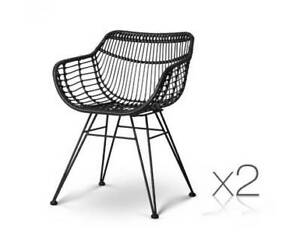 Dining Chair x 2 PE Rattan Handmade Modern Decor Black or Natural Kings Beach Caloundra Area Preview