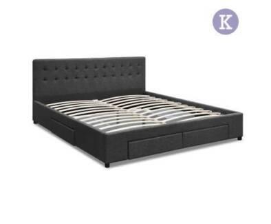 King  Fabric Bed Frame/Headboard with Storage Drawers Dark Grey