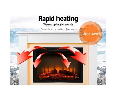 Surprising Devanti 2000W Electric Fireplace Mantle Portable Fire Log Download Free Architecture Designs Griteanizatbritishbridgeorg