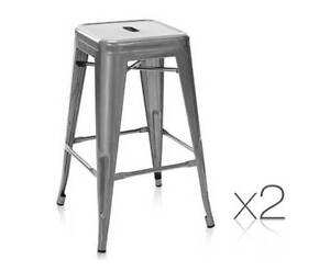 AUS FREE DEL-Set of 2 Steel Kitchen Chair Bar Stool 76cm Metallic Sydney City Inner Sydney Preview